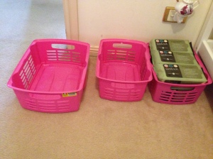 Rather than purchase expensive baskets for your changing table.  I got these great ones from the reject shop!